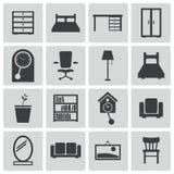 Iconos negros de los muebles del vector Stock de ilustración