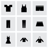 Iconos negros de los ojos de la ropa del vector fijados Imagenes de archivo