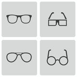Iconos negros de los vidrios del vector fijados Foto de archivo libre de regalías