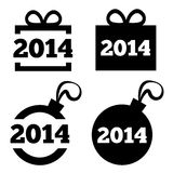 Iconos negros del Año Nuevo 2014. Regalo de la Navidad, bola. Imágenes de archivo libres de regalías