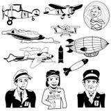 Iconos negros del aeroplano ilustración del vector