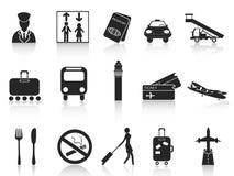 Iconos negros del aeropuerto fijados Fotos de archivo