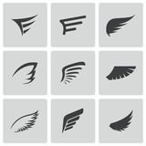 Iconos negros del ala del vector fijados Fotografía de archivo libre de regalías