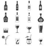 Iconos negros del alcohol stock de ilustración