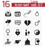Iconos negros del amor del vector Libre Illustration