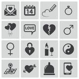 Iconos negros del amor del vector Stock de ilustración