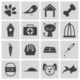 Iconos negros del animal doméstico del vector Ilustración del Vector