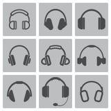 Iconos negros del auricular del vector fijados Fotografía de archivo libre de regalías