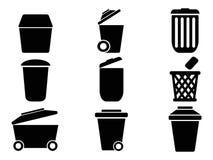 Iconos negros del bote de basura Foto de archivo libre de regalías