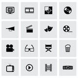 Iconos negros del cine del vector fijados Imágenes de archivo libres de regalías
