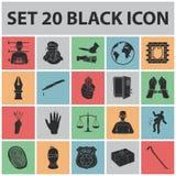 Iconos negros del crimen y del castigo en la colección del sistema para el diseño Ejemplo criminal del web de la acción del símbo stock de ilustración