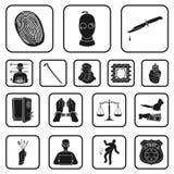 Iconos negros del crimen y del castigo en la colección del sistema para el diseño Ejemplo criminal del web de la acción del símbo ilustración del vector
