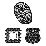 Iconos negros del crimen y del castigo en la colección del sistema para el diseño Ejemplo criminal del web de la acción del símbo libre illustration