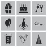 Iconos negros del cumpleaños del vector fijados Fotos de archivo libres de regalías