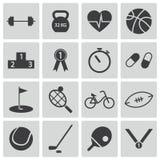 Iconos negros del deporte del vector Ilustración del Vector