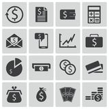 Iconos negros del dinero del vector Ilustración del Vector