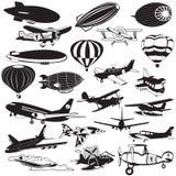 Iconos negros del dirigible Imagen de archivo