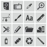 Iconos negros del diseño gráfico del vector Ilustración del Vector