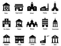 Iconos negros del edificio del gobierno fijados Foto de archivo libre de regalías