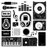 Iconos negros del equipo de sonido Imagen de archivo libre de regalías