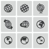 Iconos negros del globo del vector fijados libre illustration