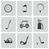 Iconos negros del golf del vector fijados Foto de archivo