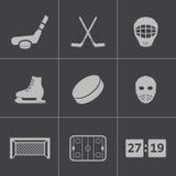 Iconos negros del hockey del vector fijados Foto de archivo libre de regalías