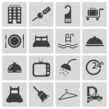 Iconos negros del hotel del vector Libre Illustration