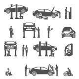 Iconos negros del mecánico de automóviles fijados stock de ilustración