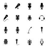 Iconos negros del micrófono del vector fijados Imágenes de archivo libres de regalías