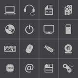 Iconos negros del ordenador del vector fijados Fotografía de archivo libre de regalías