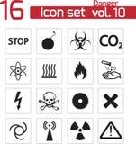 Iconos negros del peligro del vector Libre Illustration
