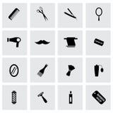 Iconos negros del peluquero del vector fijados Fotografía de archivo libre de regalías