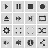 Iconos negros del reproductor multimedia del vector fijados Fotografía de archivo libre de regalías
