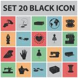 Iconos negros del taller y del equipo en la colección del sistema para el diseño Costura del web externo de la acción del símbolo Imágenes de archivo libres de regalías