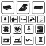 Iconos negros del taller y del equipo en la colección del sistema para el diseño Costura del web externo de la acción del símbolo Foto de archivo libre de regalías
