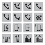 Iconos negros del teléfono del vector fijados Fotografía de archivo libre de regalías