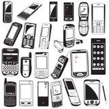 iconos negros del teléfono móvil Imagen de archivo
