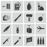 Iconos negros del terrorismo del vector Ilustración del Vector