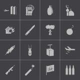 Iconos negros del terrorismo del vector fijados stock de ilustración