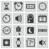 Iconos negros del tiempo del vector Ilustración del Vector