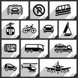 Iconos negros del transporte Imágenes de archivo libres de regalías