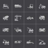 Iconos negros del transporte de la construcción del vector fijados Foto de archivo libre de regalías