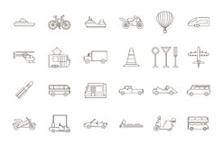 Iconos negros del transporte fijados Fotos de archivo