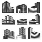 Iconos negros del vector de los edificios modernos del negocio aislados en blanco Fotos de archivo