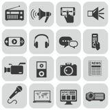 Iconos negros del vector medios fijados en gris Fotografía de archivo libre de regalías