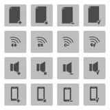 Iconos negros del vector para el web y el móvil Fotografía de archivo