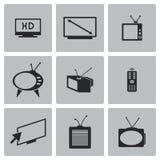 Iconos negros del vector TV fijados Fotos de archivo libres de regalías