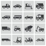 Iconos negros del vehículo del vector Ilustración del Vector