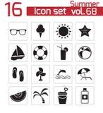 Iconos negros del verano del vector Stock de ilustración